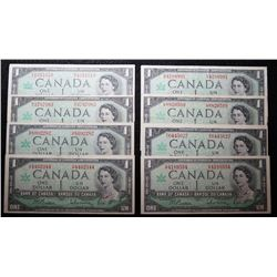 Lot of 8 1967 - BC45b &  BC-45b-I - 1 - Dollar Cenntenial Banknotes
