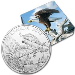 2014 $100 (1 oz.) Fine Silver Coin - The Majestic Bald Eagle.