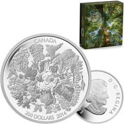 2014 $200 (2 oz.) Fine Silver Coin - Towering Forests.