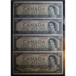 Lot of 4 Devils Face - BC-33a & BC-33b - 20 Dollar Banknotes