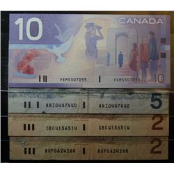 Lot of 4 RADAR Serial Number Canadian Banknotes