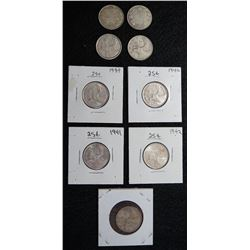 Lot of 9 Canadian Quarters