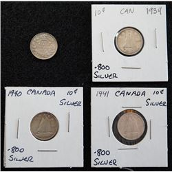 Lot of 4 Canadian Dimes