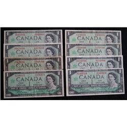 Lot of 8 - 1967 - BC45b &  BC-45b-I - 1 Dollar Banknotes