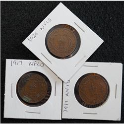 Lot of 3 - Newfoundland One Cent