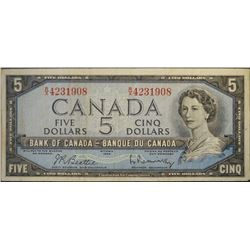 1954 - BC-39b - 5 - Dollar - Serial Number - RX4231908 - Signature - Beattie/Rasminsky