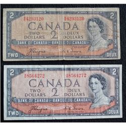 Lot of 2 Devils Face BC-30a - 2 Dollar Banknotes