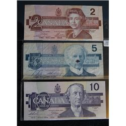 Lot of 3 Bird Series Banknotes 1986 - BC-55a - 2 - Dollar - Serial Number - AUL0480163 - Signature -