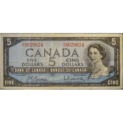 1954 - BC-39b - 5 - Dollar - Serial Number - HX8029824 - Signature - Beattie/Rasminsky