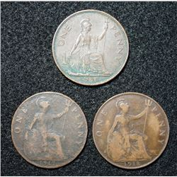 Lot of 3 - British Penny's