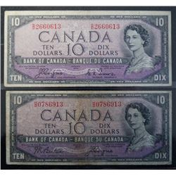 Lot of 2 Devils Face - BC-32a & BC-32b - 10 Dollar Banknotes