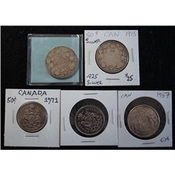 Lot of 5 Canadian 50 cent coins
