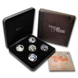2011 - Perth Mint Tuvalu $1 Heroes and Villains 1oz Pure Silver 5-Coin Set