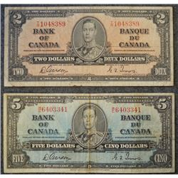 1937 Issue Banknote Lot of 2 Banknotes including - (1) 2 Dollar - (1) 5 Dollar denominations