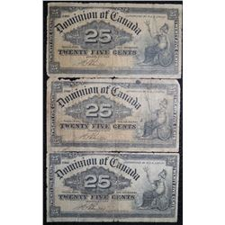 "1900 - DC-15b - Lot of 3 - 25 cent Dominion of Canada ""Shinplaster"" - Boville Signature"