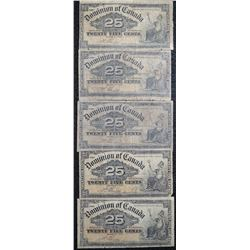 "1900 - DC-15b - Lot of 5 - 25 cent Dominion of Canada ""Shinplaster"" - Boville Signature"