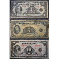 1935 Series - Lot of 3 Banknotes - including - (1) 1 Dollar - (1) 5 Dollar - (1) 10 Dollar denominat