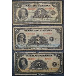1935 Series - Lot of 3 Banknotes including - (1) 1 Dollar - (1) 2 Dollar - (1) 5 Dollar denomination