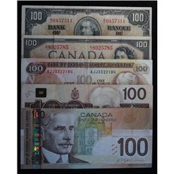 Lot of 5 - 1937-1954-1975-1988-2004 $100 banknotes