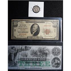 USA Banknote Lot  c/w bonus 1935 Indian Head/Buffalo Nickel