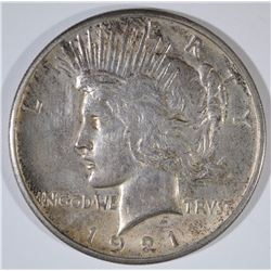1921 PEACE SILVER DOLLAR, AU/UNC ORIGINAL