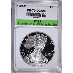 1997-P AMERICAN SILVER EAGLE, PCSS PERFECT GEM PROOF DCAM