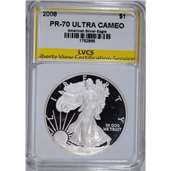 2008 AMERICAN SILVER EAGLE, LVCS PERFECT GEM PROOF ULTRA CAMEO