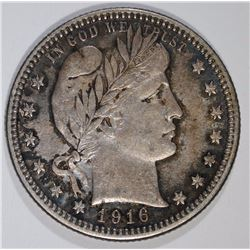 1916-D BARBER QUARTER, CHOICE AU+
