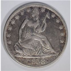 1858-O SEATED HALF DOLLAR XF/AU NICE