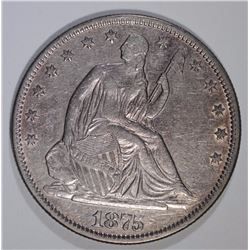 1875 SEATED HALF DOLLAR, NICE AU