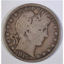 1915 BARBER HALF DOLLAR, G/VG  KEY DATE,