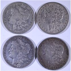 4 - MORGAN DOLLARS; 1904-O VF, 1879 XF, 1901-O VF, 1883 VF