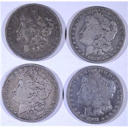4 - MORGAN DOLLARS; 1891-O VF, 1887-O VG, 1884 VF, 1901-O VG