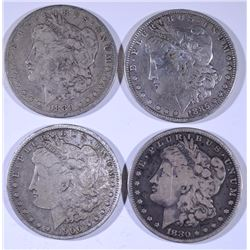 4 - MORGAN DOLLARS; 1880-S VG, 1900-O VG, 1885 VF, 1880-O VG