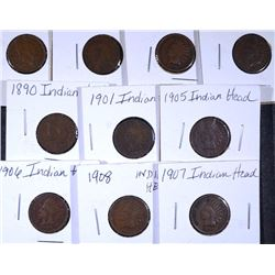 10 - INDIAN HEAD CENT, VG/F - ALL DIFFERENT, 1890, 1891, 1896, 1899, 1900, 1901,