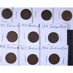 10 - INDIAN HEAD CENTS, VG/F - ALL DIFFERENT, 1899, 1900, 1901, 1902, 1903, 1904