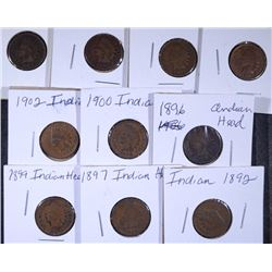 10 - INDIAN HEAD CENTS, VG/F - ALL DIFFERENT, 1896, 1892, 1897, 1899, 1900, 1902