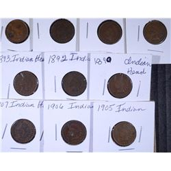 10 - INDIAN HEAD CENTS, VG/F - ALL DIFFERENT, 1890, 1892, 1893, 1898, 1901, 1902
