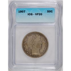 1907 BARBER HALF DOLLAR, ICG VF-20