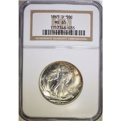 1945-D WALKING LIBERTY HALF DOLLAR, NGC MS-65