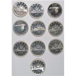 ( 8 ) 1966 & ( 2 ) 1967 CANADIAN SILVER DOLLARS  FROM PL SETS