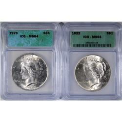 2 - PEACE DOLLARS; 1922 ICG MS64 & 1923 ICG MS64