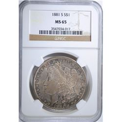1881-S MORGAN SILVER DOLLAR NGC MS 65  BEAUTIFUL COLOR