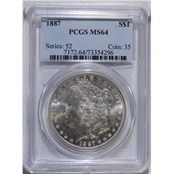 1887 MORGAN SILVER DOLLAR, PCGS MS-64