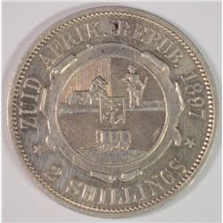 1897 South Africa Two Shillings, XF, 92.5%Silver, .3363 ozt, KM#6