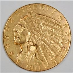 1911-D $5 GOLD INDIAN BU LIGHT CLEANING RARE KEY DATE COIN