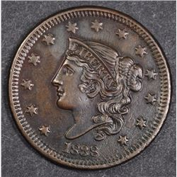 1838 LARGE CENT AU/BU LIGHT POROSITY