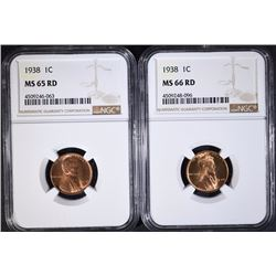 (2) 1938 LINCOLN CENT NGC MS65 RD + 66RD