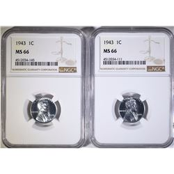 (2) 1943 STEEL LINCOLN CENT NGC MS66