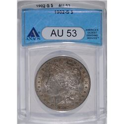 1902-S MORGAN SILVER DOLLAR, ANACS AU-53  KEY COIN